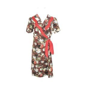 Vintage Josephine Floral Red Faux Wrap Dress Sz S